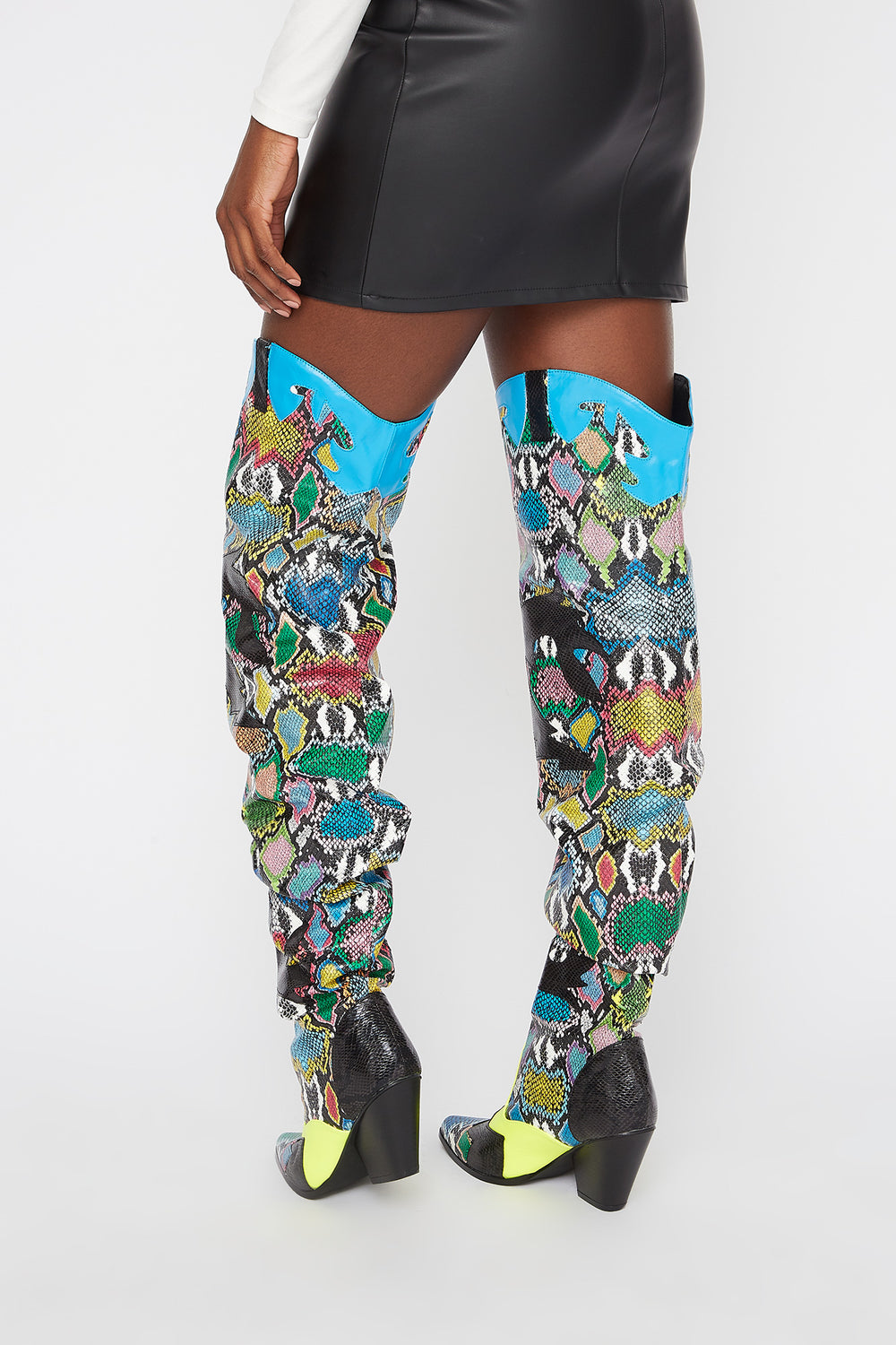 Cowboy Snake Ruched Thigh High Boot Multi