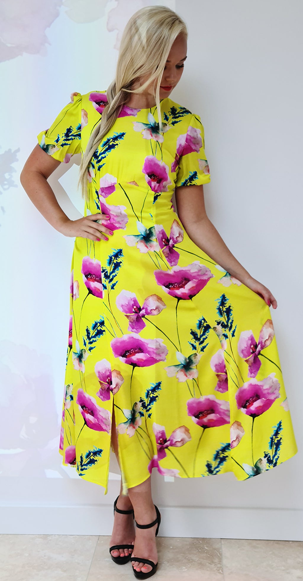 Slow Dance Dress DRC332 Yellow Poppy Print