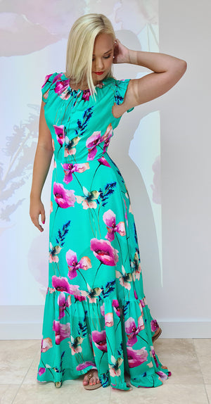 Serena Dress DRC363 Green Poppy Print