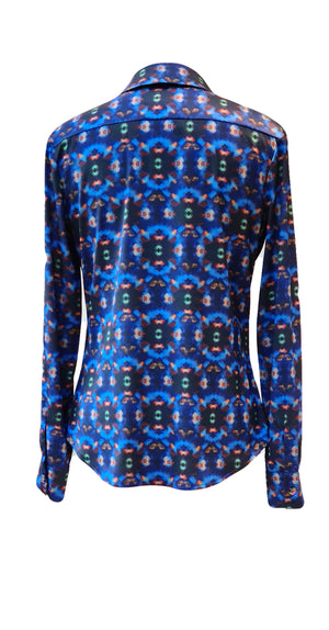 Hayley Top TOP370 Blue Crystal Print