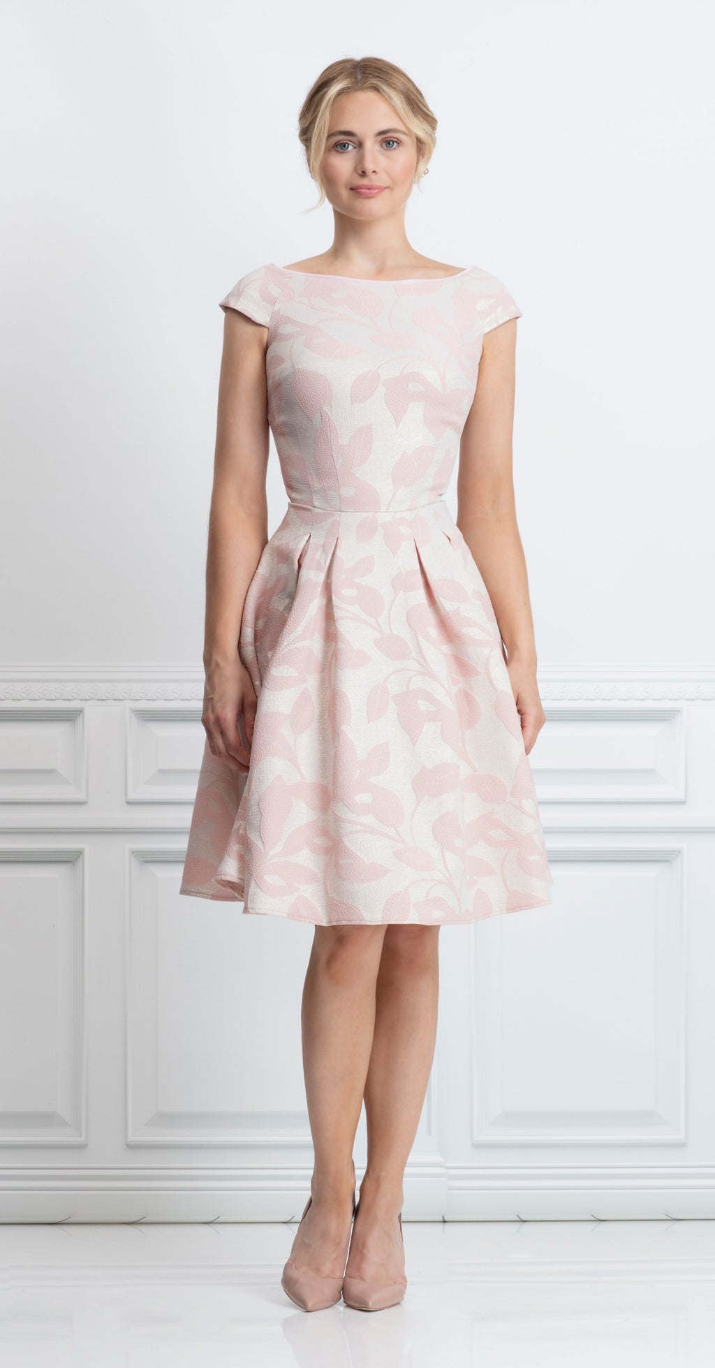 Alameda Dress in pink metallic jacquard