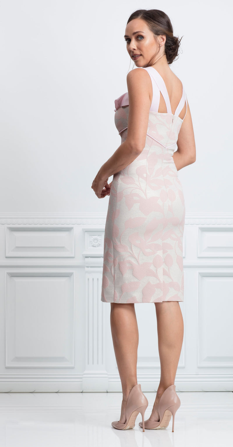 Andalusia Dress in pale pink metallic jacquard