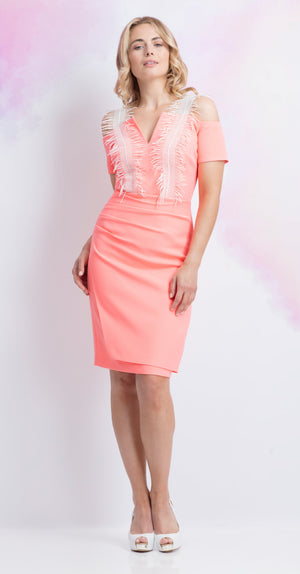 Arcardia dress in Coral Crepe
