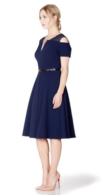 Iviron Dress DRC223 Navy/Lace Contrast With Belt