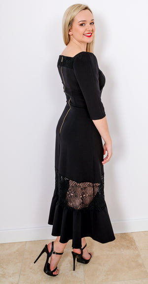 Doll House Dress DRC329 Black Crepe Windsor Lace