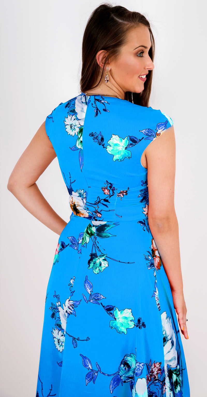 Fiona Dress DRC304 Turquoise Vibrant Floral Print