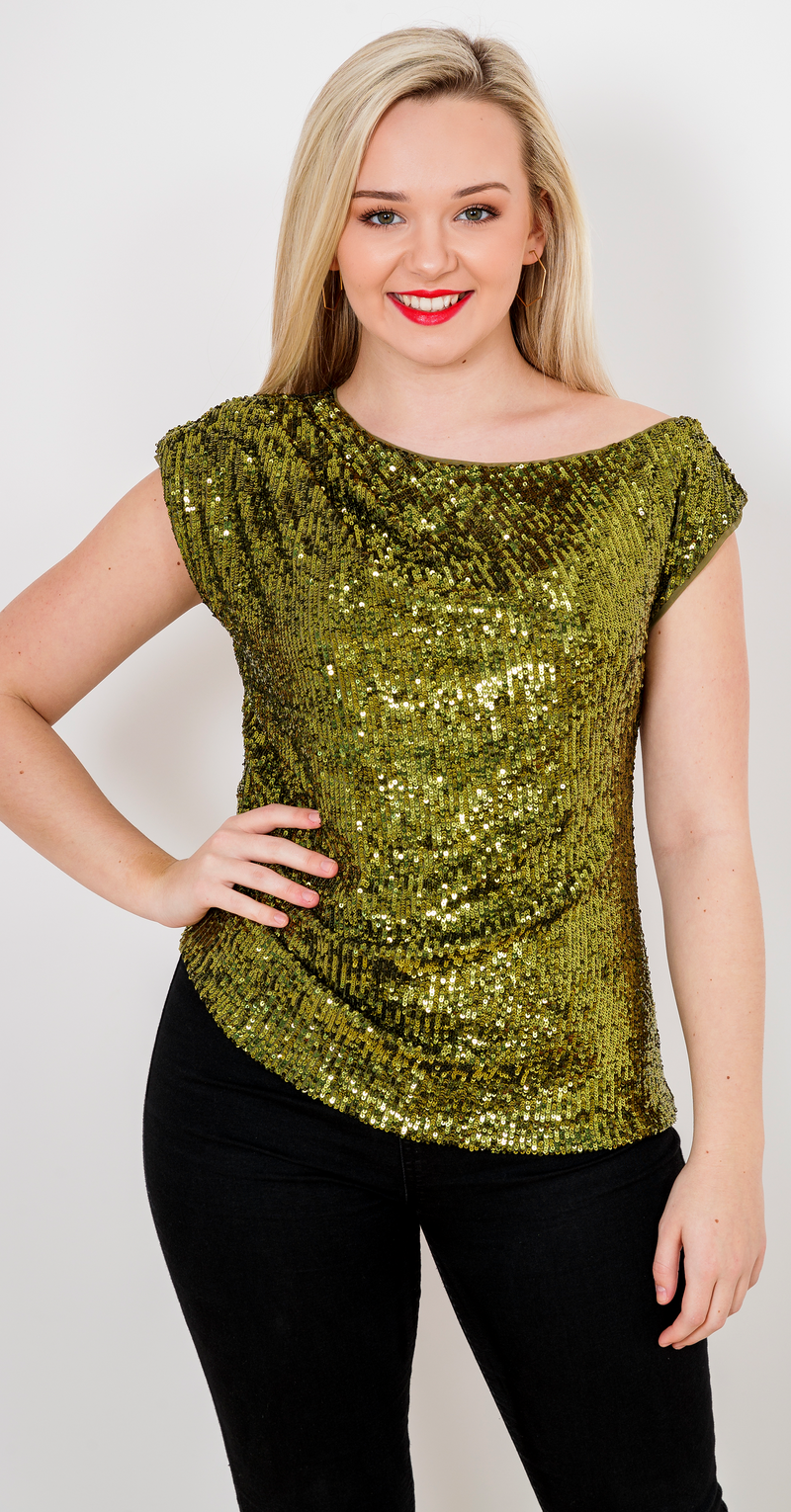 Gold Rush Top TOP342 Liquid Gold Sequins