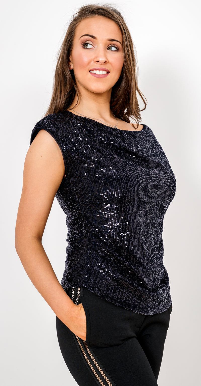 Gold Rush Top TOP342 Midnight Blue Sequins