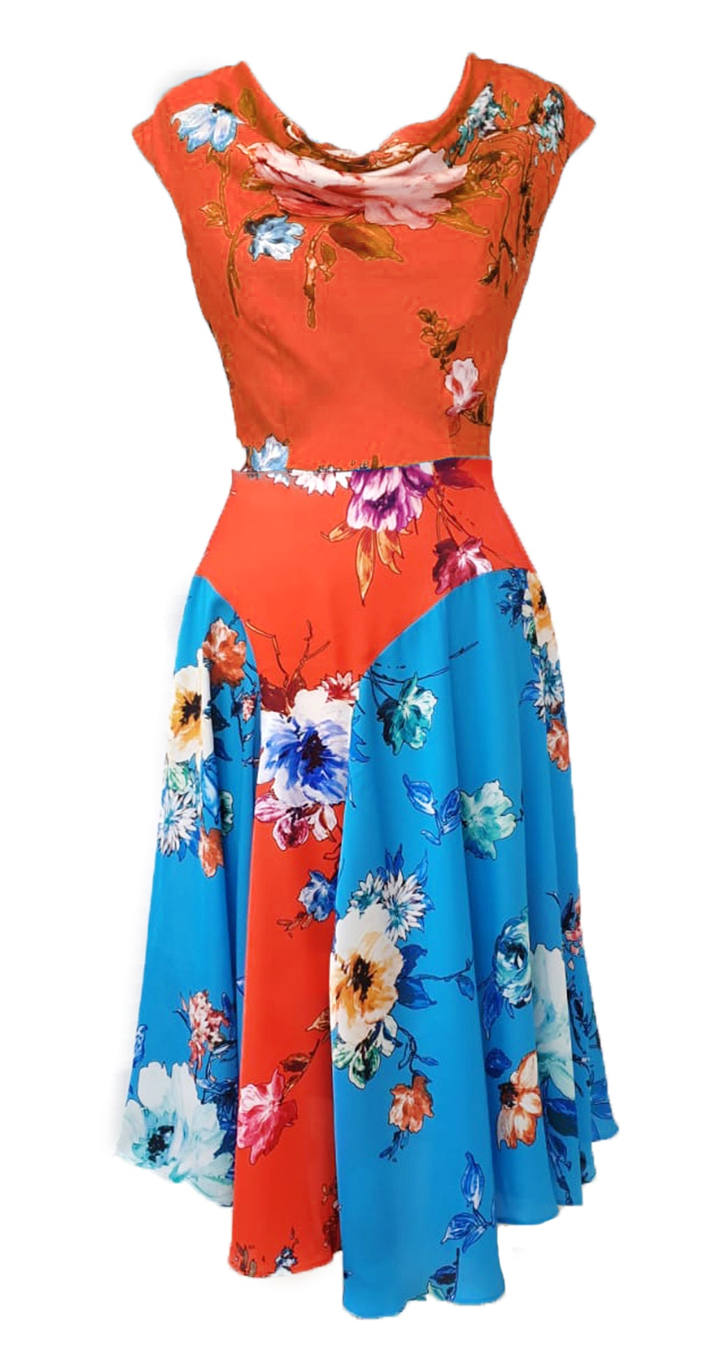 Kelly Dress DRC306 Orange Vibrant Floral Print