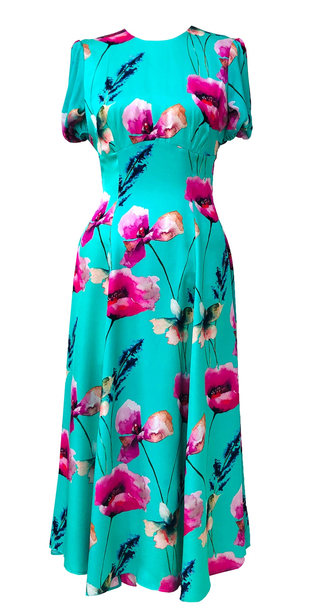 Slow Dance Dress DRC332 Green Poppy Print