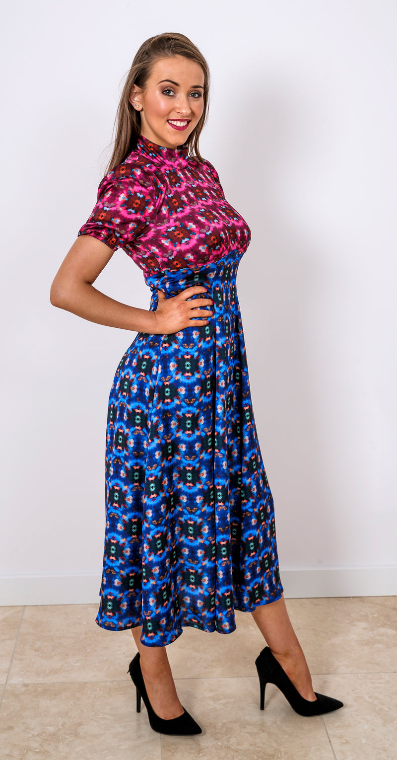 Slow Dance Dress DRC332 Blue/Pink Crystal Print