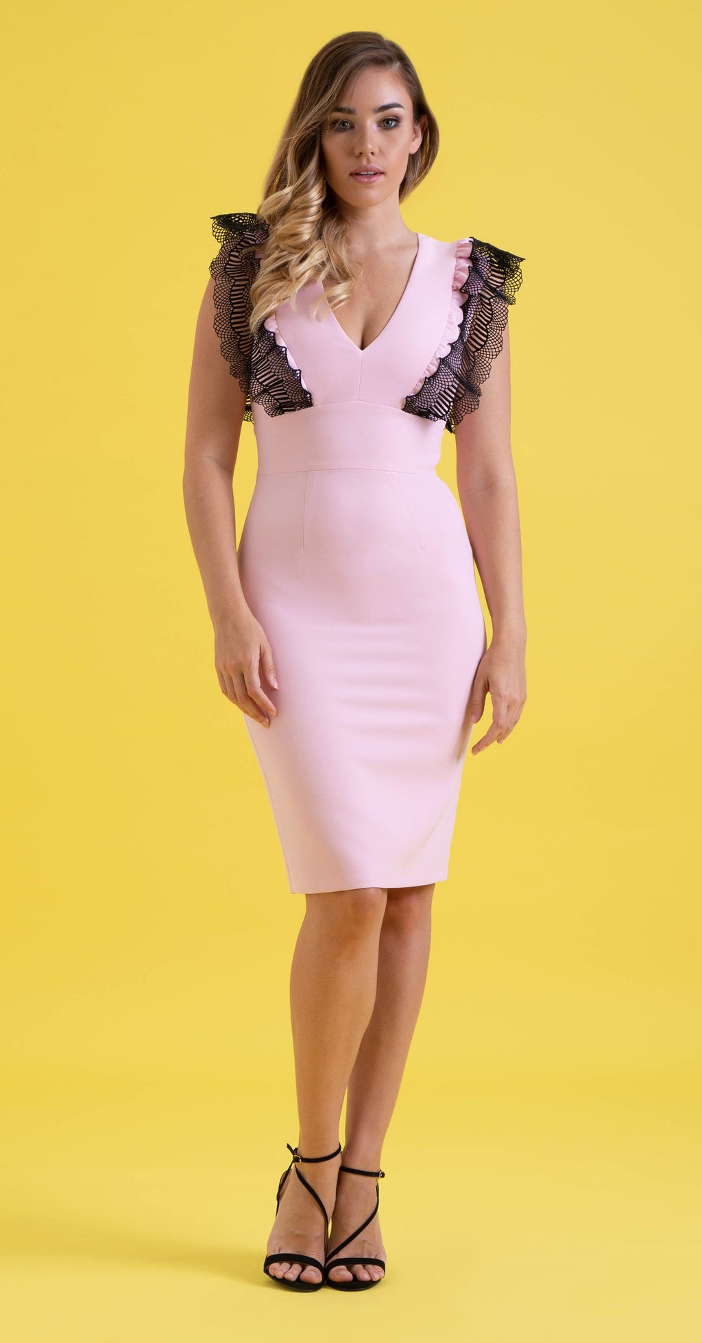 Sofia Dress DRC203 Pale Pink/Lace