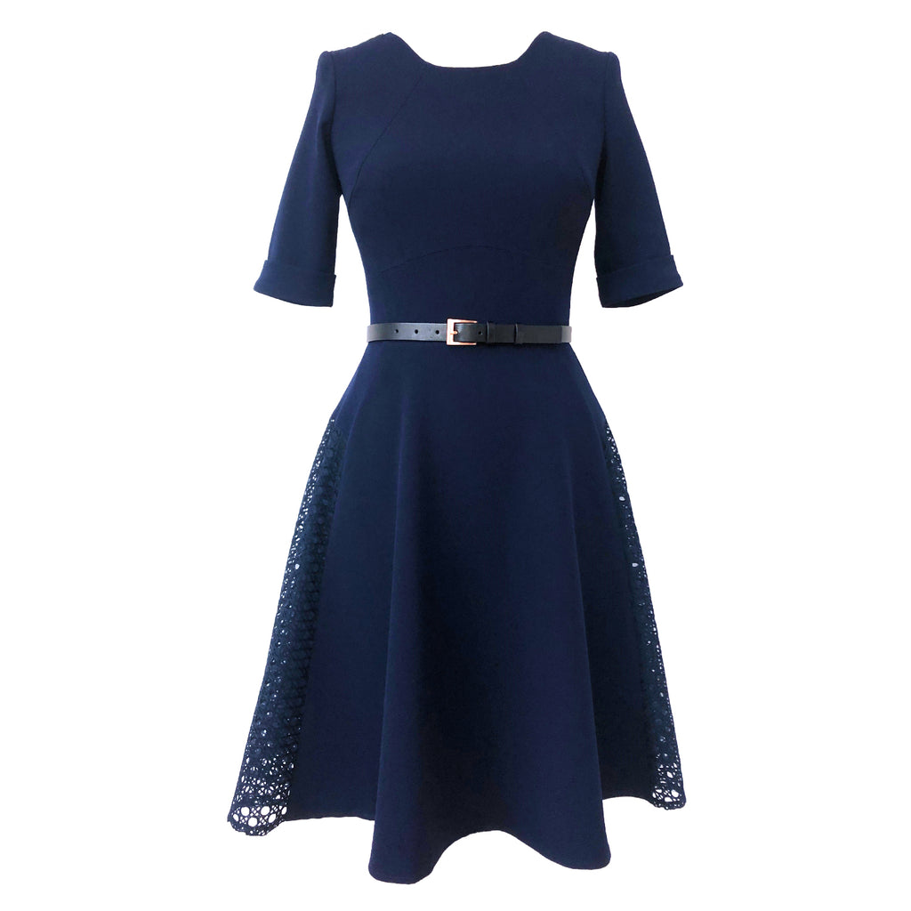 Anatolia Dress DRC219 Navy/Lace Contrast, Size 8 Clearance