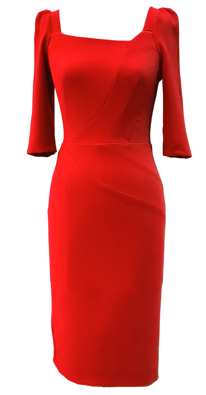 Celine Dress DRC346 Red Crepe