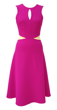 Claudette Dress DRC293 Raspberry Pink/Yellow