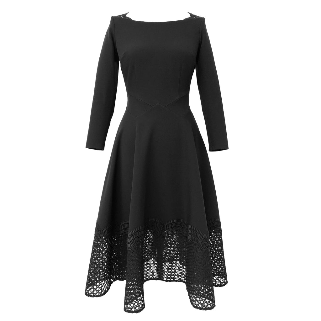 Clio Dress DRC204 Black/Lace Contrast, Size 8 Clearance.