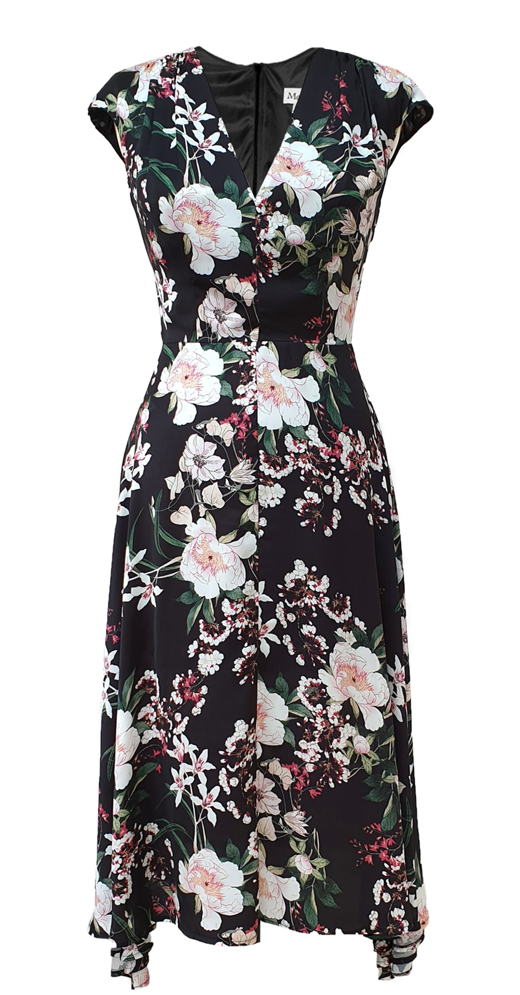Fiona Dress DRC304 Black Botanical Print