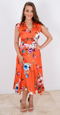 Fiona Dress DRC304 Orange Vibrant Floral Print