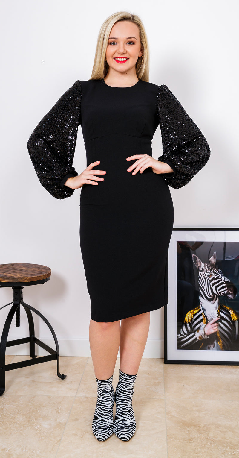 Galaxy Dress DRC334 Crepe Black Rain Sequins