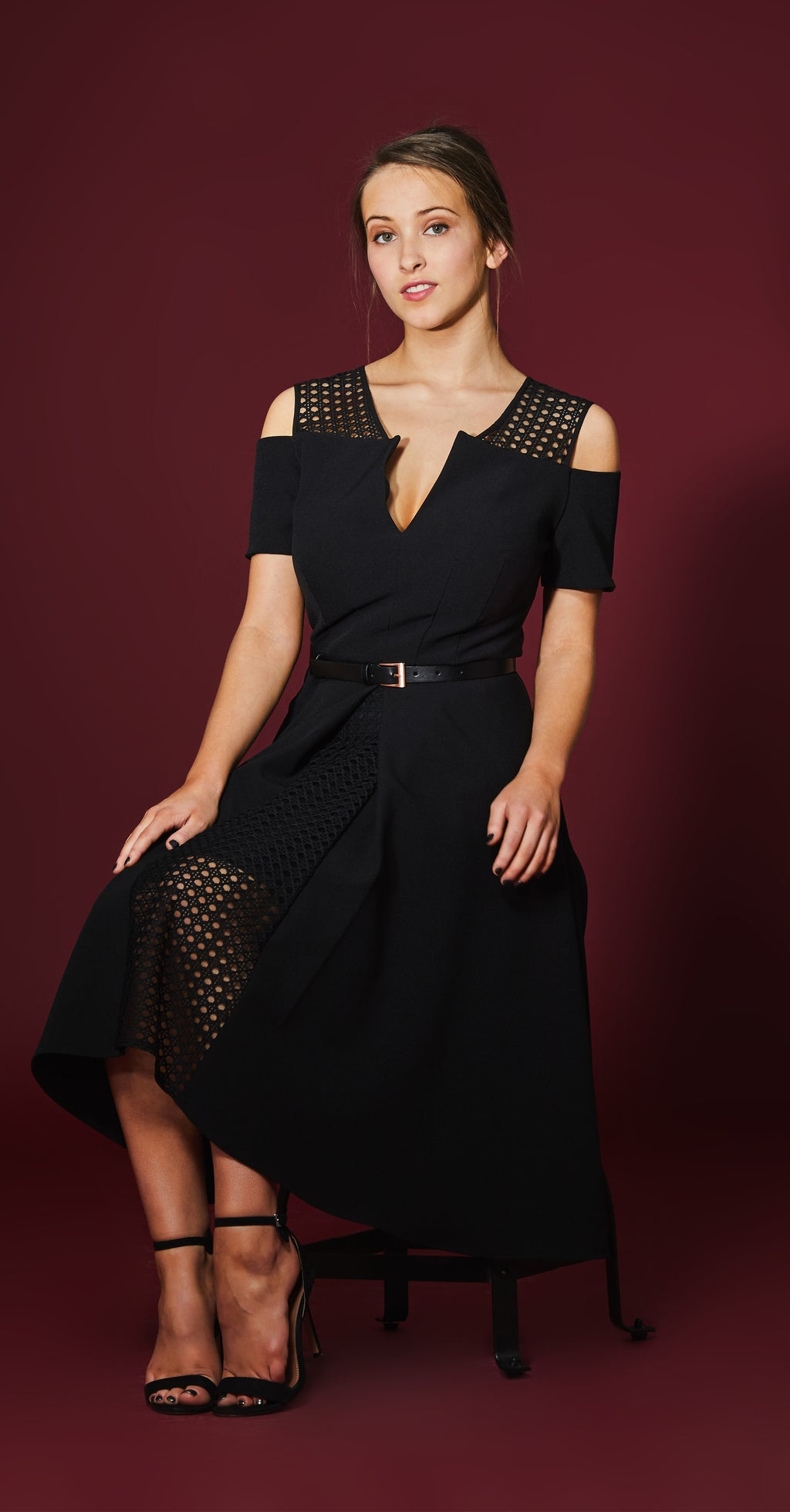 Iviron Dress DRC223 Black/Lace Contrast With Belt