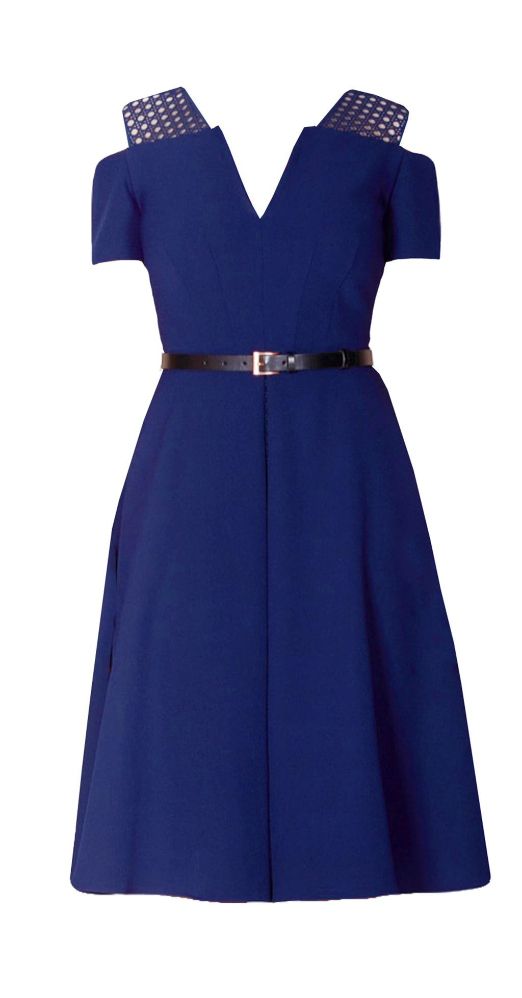 Iviron Dress DRC223 Navy/Lace Contrast With Belt Sample, Size 8