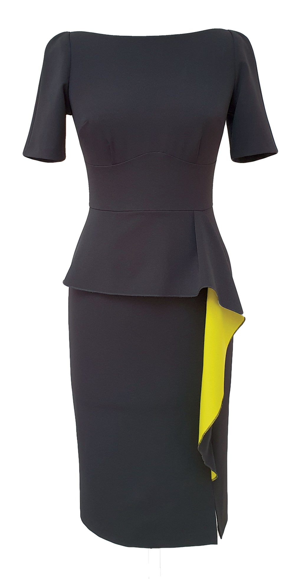Jayne Dress DRC300 Black/Yellow Contrast Crepe
