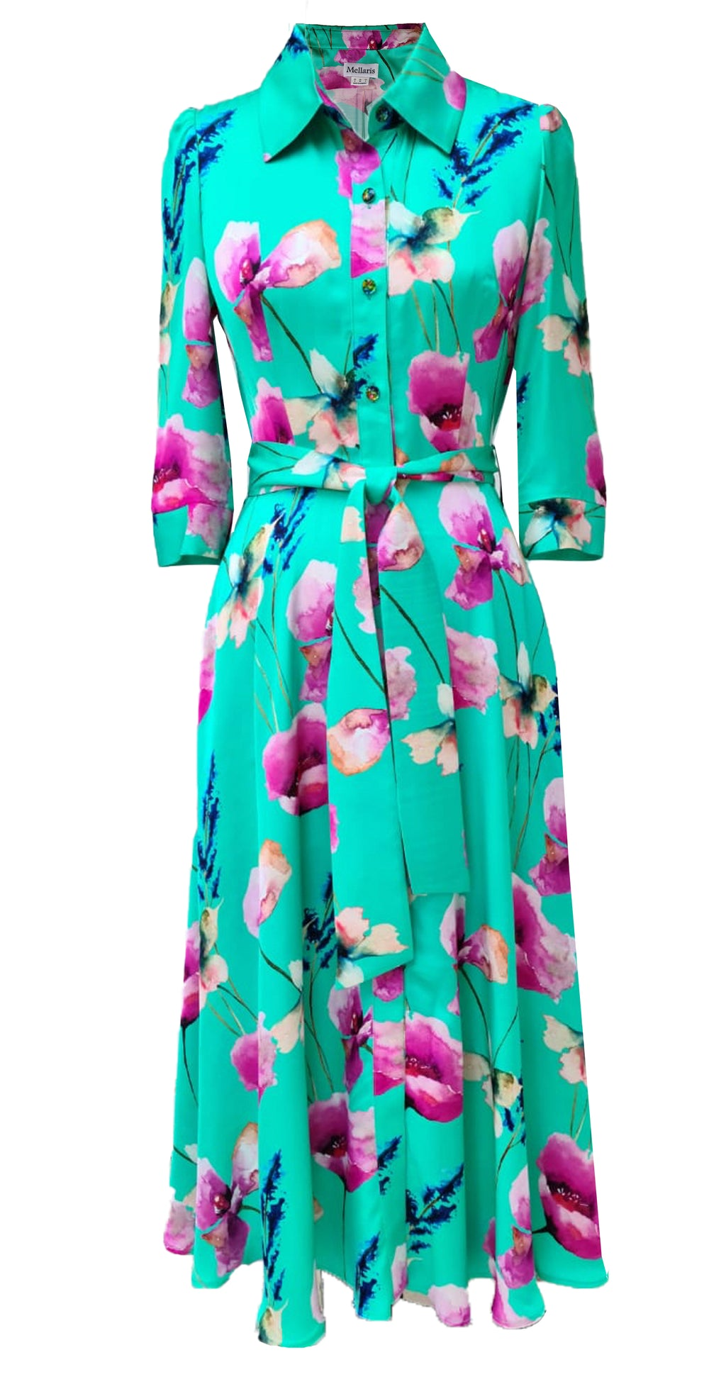 Marsden Dress DRC374 Green Poppy Print