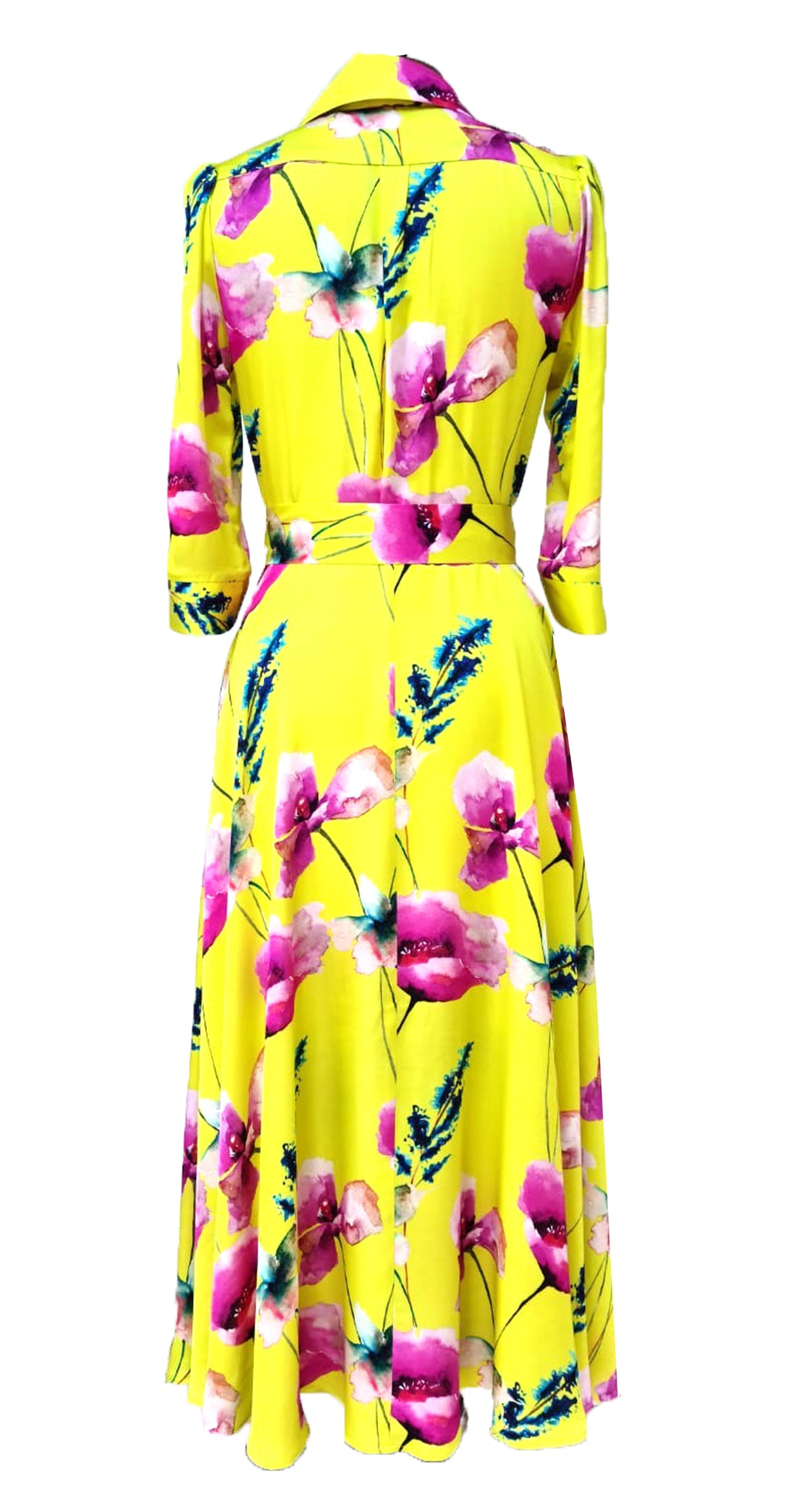Marsden Dress DRC374 Yellow Poppy Print