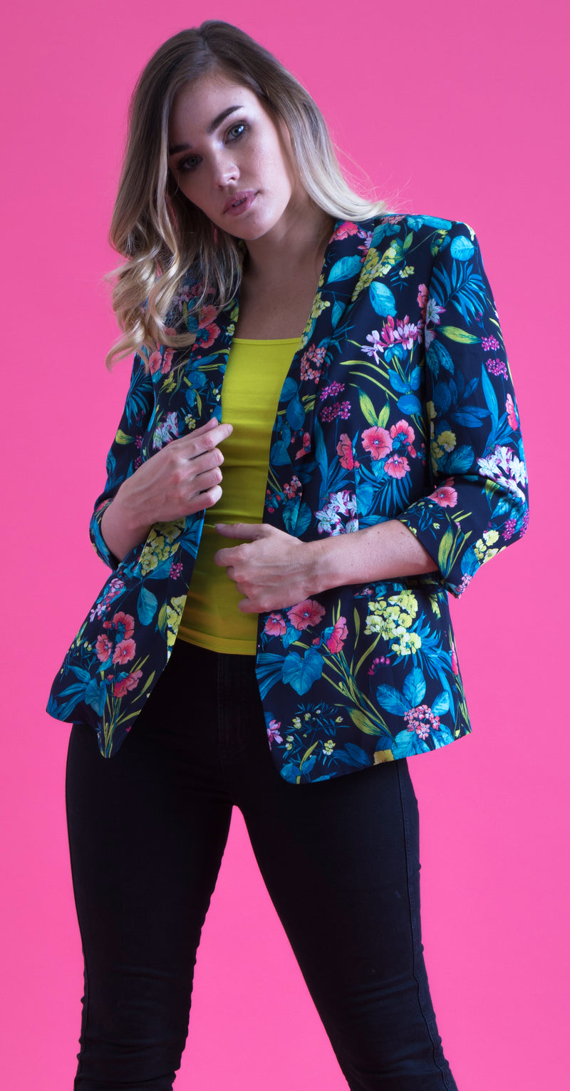 Megan Jacket JKT265 Tropical Print Lightweight Crepe