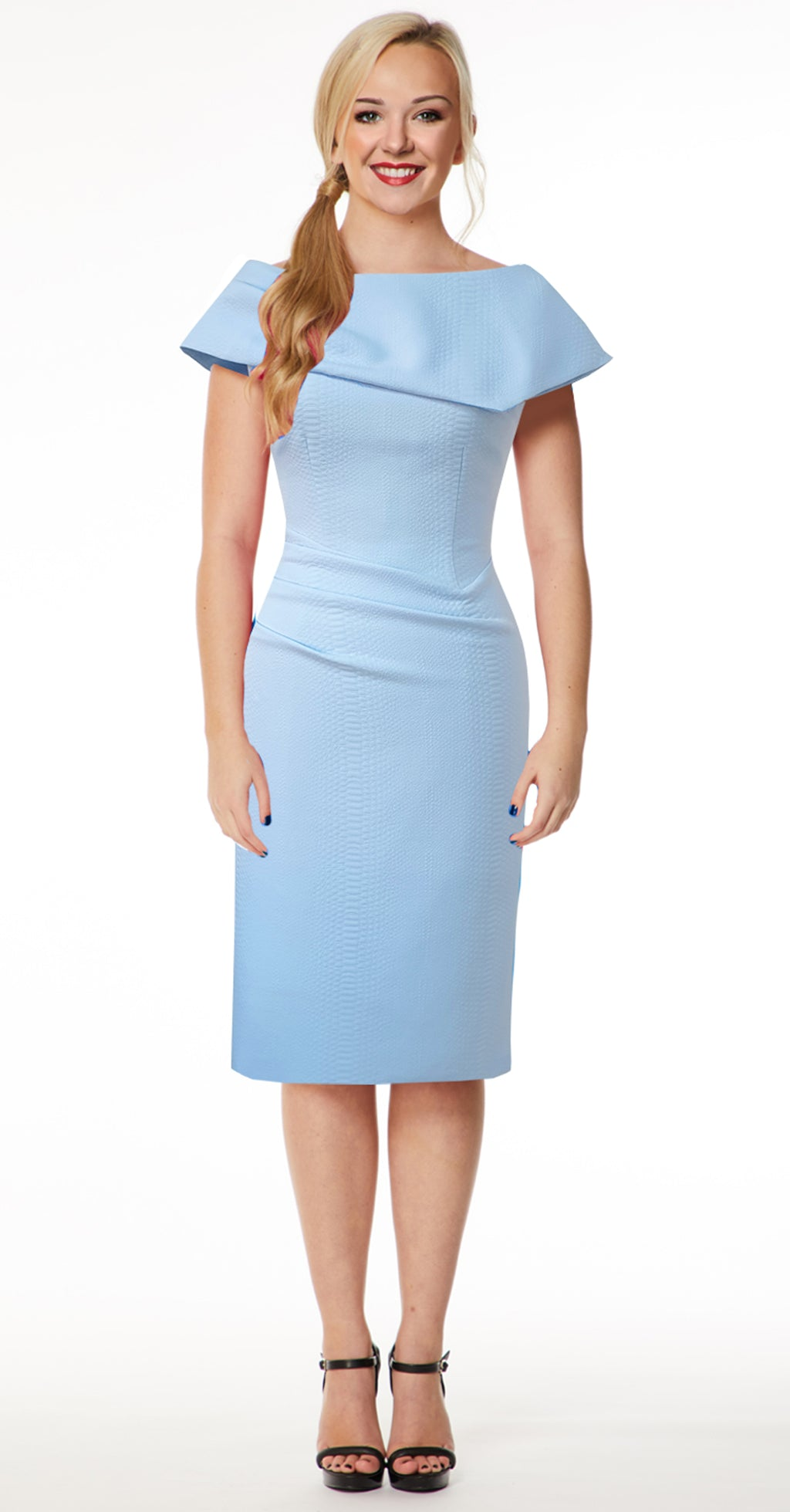 Olympia Dress DRC233 Pale Blue Snake Jacquard