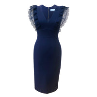 Sofia Dress DRC203 Navy, Sample, Size 8 (UK)