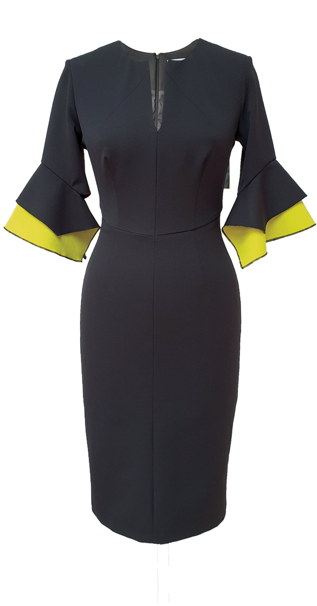 Susan Dress DRC318 Black/Yellow Bonded Crepe Sample, Size 8