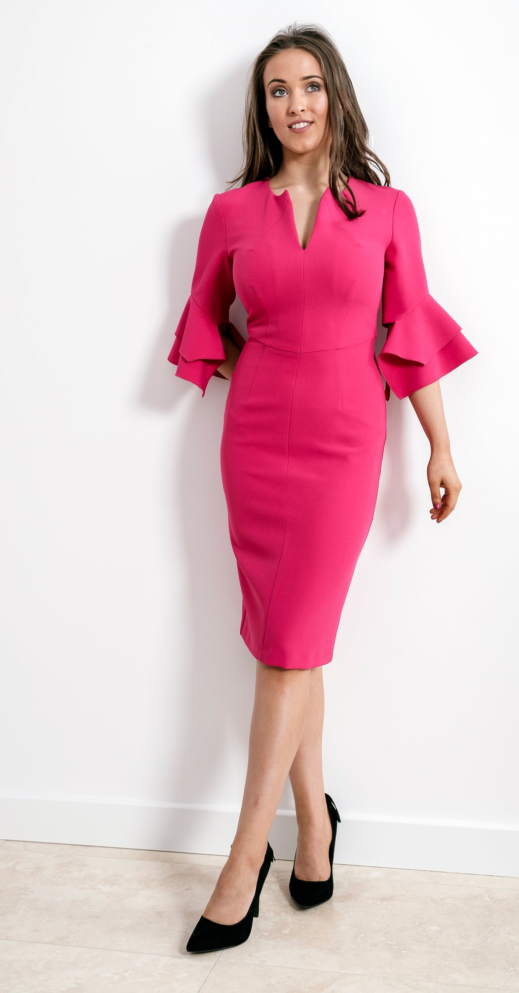 Susan Dress DRC318 Pink Crepe