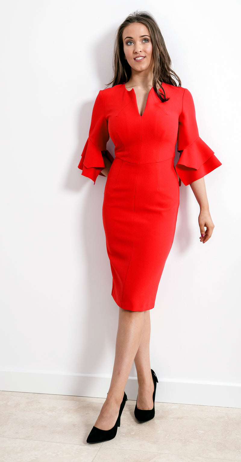 Susan Dress DRC318 Red Crepe