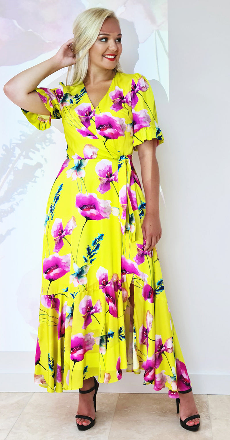 Emma Dress DRC332 Yellow Poppy Print