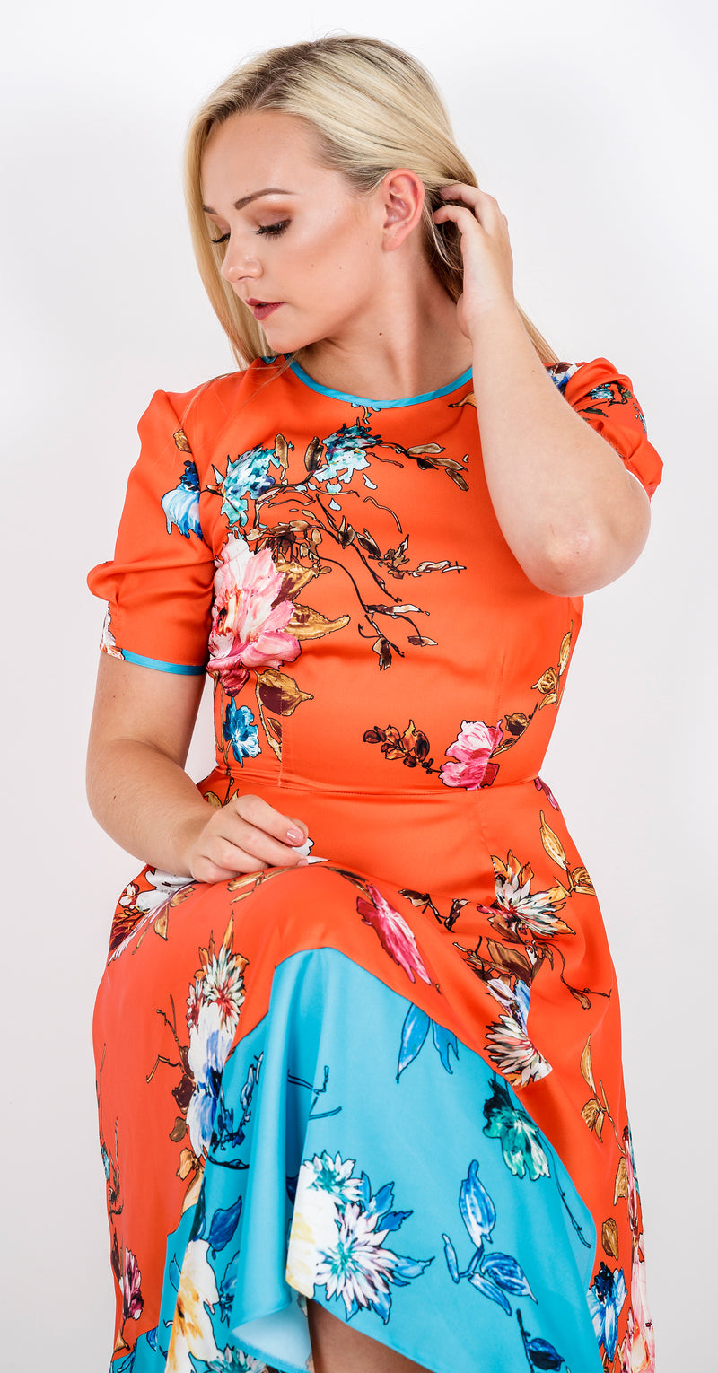 Vivien Dress DRC302 Orange Vibrant Floral Print