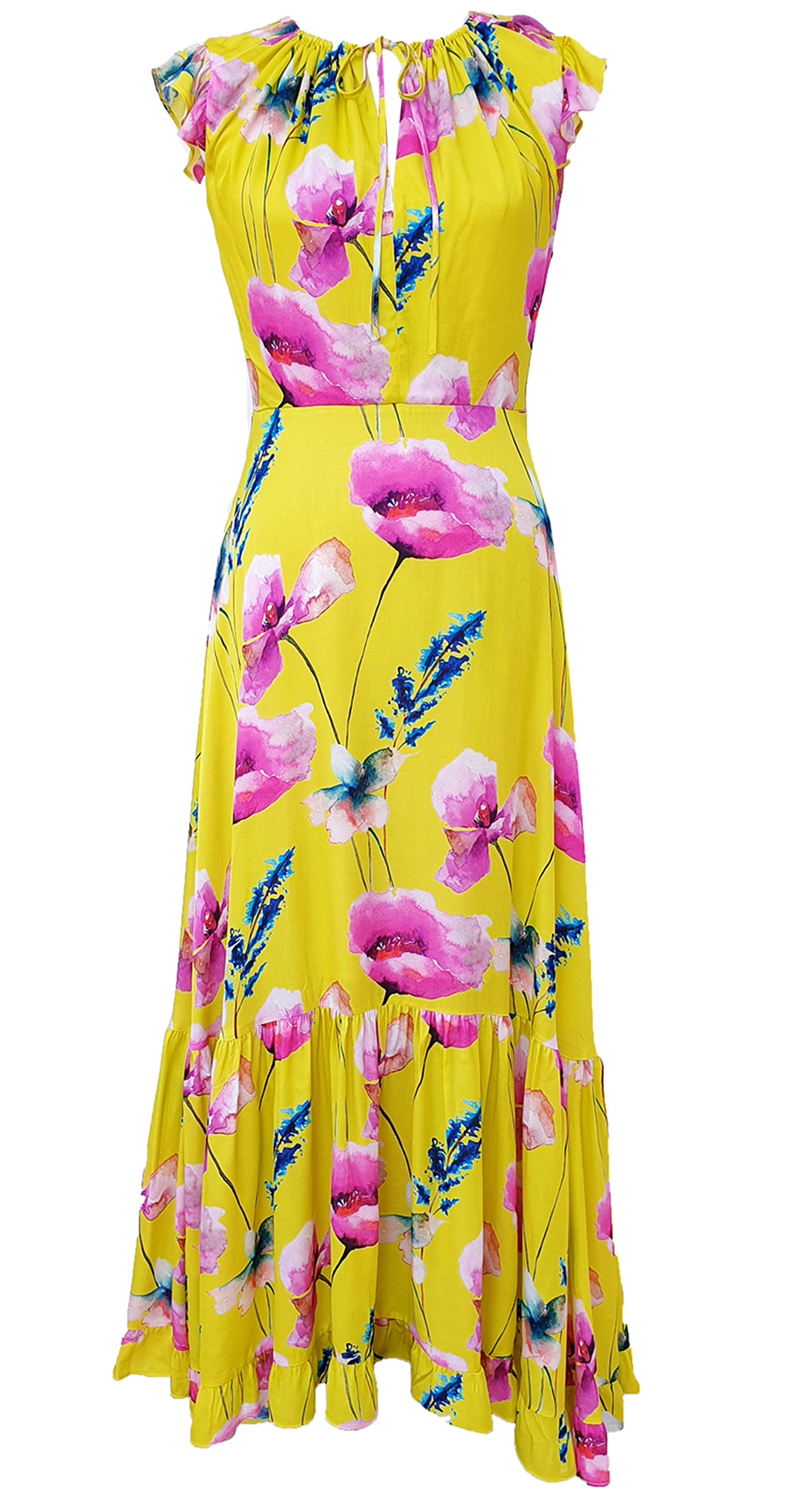 Serena Dress DRC363 Yellow Poppy Print