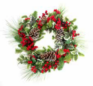 60cm Red Berry and Holly Christmas Wreath | 15633