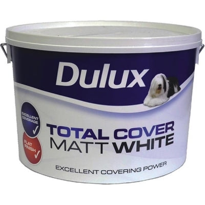 Dulux Total Cover Matt White  10 Litre - Nioclas O Conchubhair