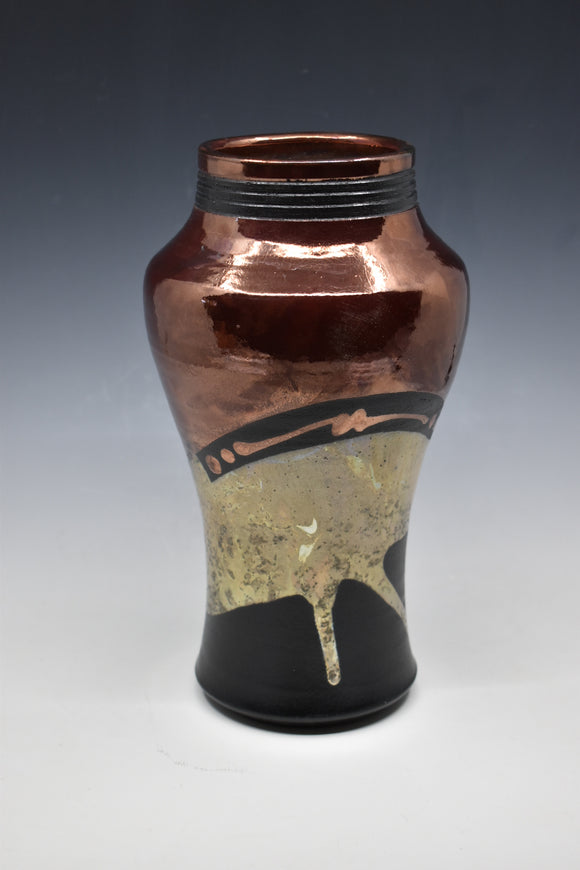 Raku Vase - Copper with gold pours