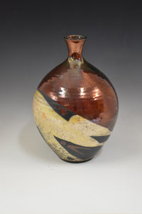 Raku Bottle - Copper with gold pours