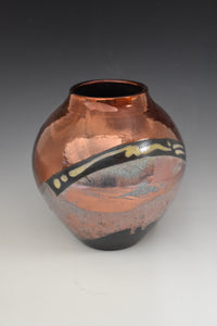 Raku Vase - Copper with teal pours