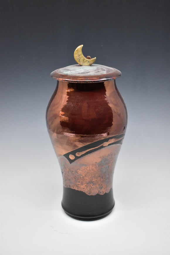 Raku Vase with Lid - Copper with crescent moon