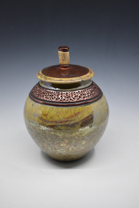 Raku Vase with Lid - Gold with copper accents