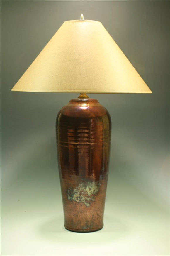 Raku Table Lamp - Large Copper Fire