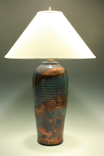 Raku Table Lamp - Large Dark Blue and Copper
