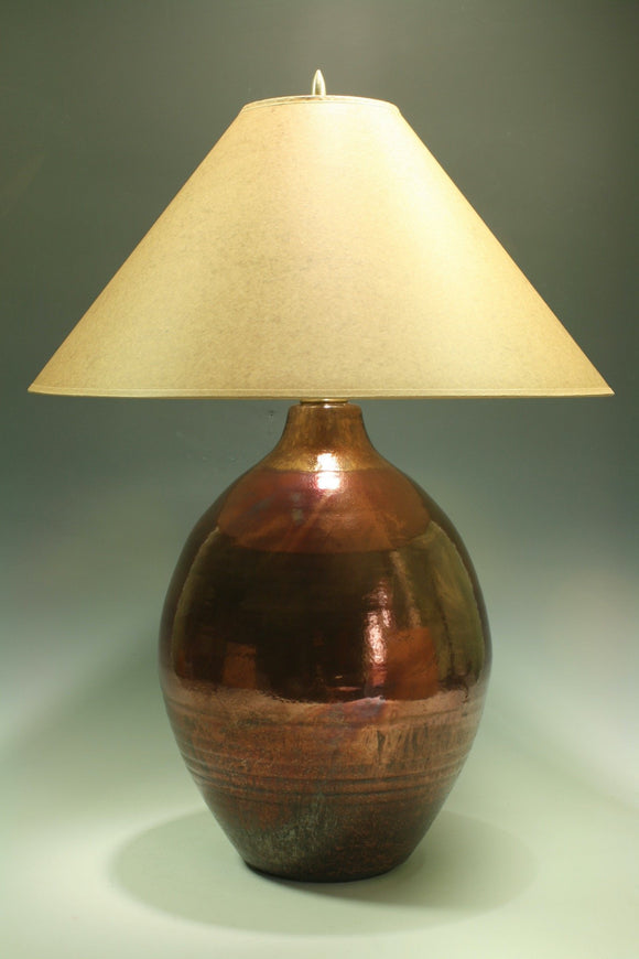 Raku Table Lamp - Large round - Copper Fire