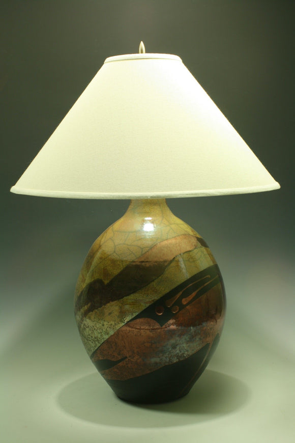 Raku Table Lamp - Large round - Gold with Copper Pours