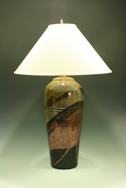 Raku Table Lamp - Large - Gold with Copper Pours