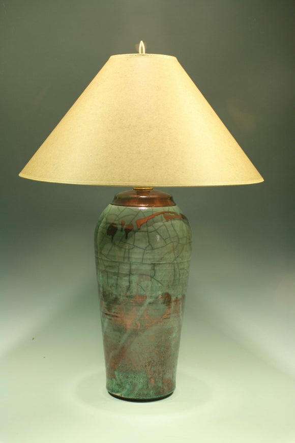 Raku Table Lamp - Large Teal Crackle